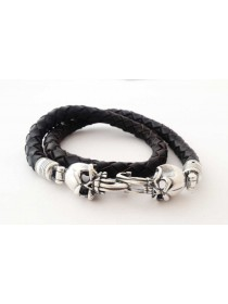 Bracelet Skull of silver and leather